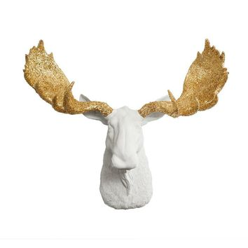 The Alberta | Moose Head | Faux Taxidermy | White + Gold Glitter Antlers Resin