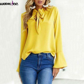 DCCKON3 2018 Spring Autumn New Women Blouse with Bow Tie Chiffon Blouses Tops Elegant Long Sleeve Shirt Female Butterfly Winter office