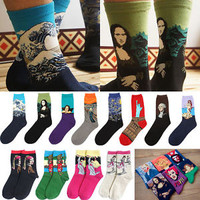 Unisex Painting Art Men Women Socks Funny Novelty Starry Night Vintage Retro Hot