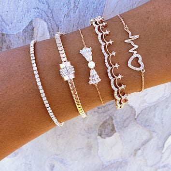 Heartbeat Bow Bracelet Set
