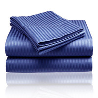 Cozy Home 1800 Series Embossed Striped 4-Piece Sheet Set King - Navy