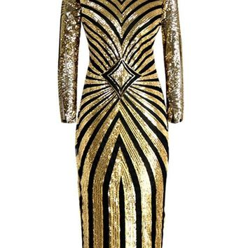 Golden Geometric Sparkly Sequin Band Collar New Year Party Winter Clubwear Maxi Dress