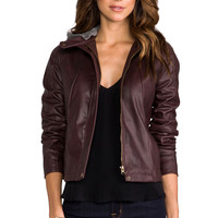 Jack by BB Dakota Kaia Hooded Faux Leather Jacket in Dark Cherry from REVOLVEclothing.com
