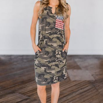 Can't See Me Coming Camo Dress