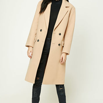 Double-Breasted Longline Coat - Women - Outerwear - 2000231521 - Forever 21 EU English