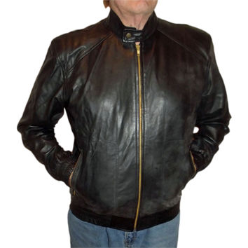 Mens Leather Jacket Black Hoodie free removable hood Nappa Sheepskin XL