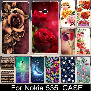 Beautiful Flower Rose Peony Tulip Fish Swan Hood PC Paiting Cases For Microsoft Nokia Lumia 535 Mobile Phone Case Cover Shell