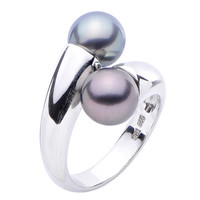 Double Tahitian Pearl Bypass Ring in Sterling SIlver