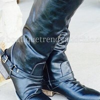 LEATHER BUCKLE BOOTS- One 5.5 Left!