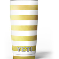 The Gold and White Horizontal Stripes Yeti Rambler Skin Kit