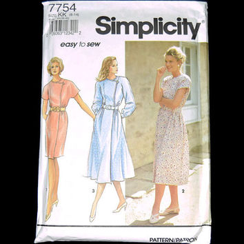 Uncut Simplicity Pattern 7754 Dress Slim or Full Skirt 8-14 KK Patron Vintage Sewing Pattern