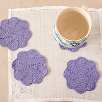 Violet Crochet Coaster Set, Crochet Housewares, Bridal Shower
