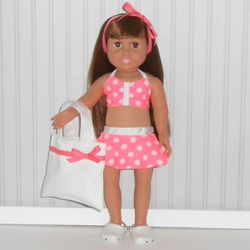 American Girl Doll Clothes Coral 2 piece Swimsuit with Polka Dots/White Tote Bag and Hair Ribbon fits 18 inch dolls