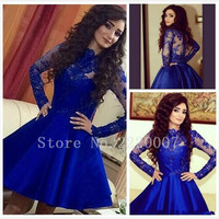 Elegant High Neckline Ball Gown Formal Dress Short Homecoming Party Lace Long Sleeves Cocktail Dress Appliques Cocktail Dresse