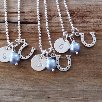 Sterling Silver Bridesmaid Gift, Personalized Engraved Initial Charm Necklace, Set of 4 Horseshoe, Birthstone or Pearl, Monogram Letter Disc