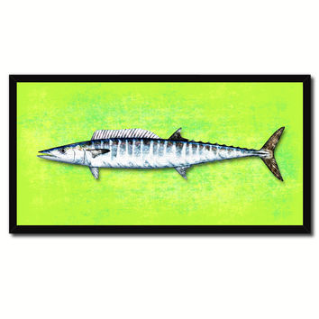 Wahoo Fish Green Canvas Print Picture Frame Gifts Home Decor Nautical Wall Art