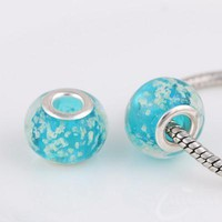 Charm Bracelets Beads 10 Pcs a Lot Glass Blue Czech Pendant