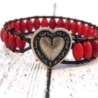 Boho Red Barrel Leather Wrap Bracelet with Heart Button/ Cardinal Red/ Holiday Rustic Boho Chic
