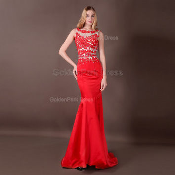 Red Long Prom Dresses 2015 New fashion party dresses Long A-line Women Formal Evening Bridesmaid Gorgeous Corset Ladies Cheap dress