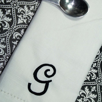 "Set of 4 Antique Monogrammed Embroidered Cloth Napkins 20"" cotton or poly (Ivory, White or Black)"