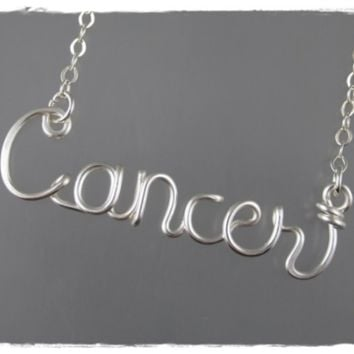 Cancer Astrology Sign Wire Word Pendant Necklace