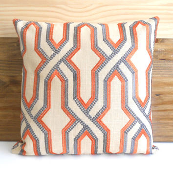 Orange and gray embroidered geometric trellis decorative pillow cover