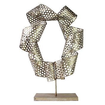 Twisted Coil Metal Sculpture Table Decor (Grey)