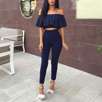 2017 New Fashion Women Lotus Leaf Crop Tops+Long Pants Two-piece Set Formal Party Office Bodysuit Casual Slim Outfits Playsuit