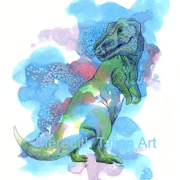 Trex Dinosaur Watercolor Print 8x10 original painting dino themed nursery childrens wall art blue red gift for him tyrannosaurus rex drawing