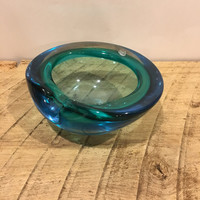 Vintage Art Deco blue ashtray, unmarked murano, blue green glass, modern, collector ashtray, mid century, Italy, cased ashtray,