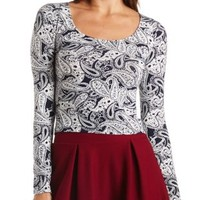 Long Sleeve Cotton Crop Top by Charlotte Russe - Navy Combo