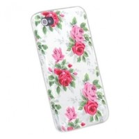 niceEshop(TM) White Flower Slim Fit Hard Case Cover For Apple iPhone4/4S +Screen Protector