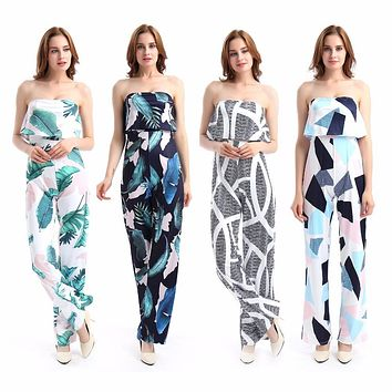 Fashion Casual Women Jumpsuit Print Floral Bodysuit tube Romper Loose One-piece  Clothing