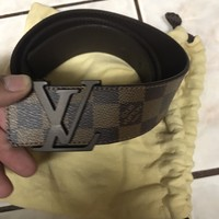 Louis Vuitton Damier Ebene Belt Brown Men LV M9807 Size 85/34