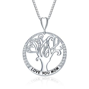 """I Love You Mom"" Love Heart Necklace, 18"", Jewelry for Women, Special Gifts for Wife,Aunt, Grandma, Mom"