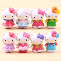 Hot Anime Cartoon Hello Kitty Toy Figures,Hellokitty Action Models for kids Birthday Gifts,8 pcs/lot Anime club
