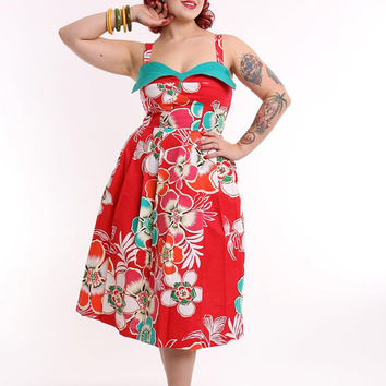 Malalani Wing Bust Dress - Hawaiian Shaheen Pinup Rockabilly 50s Vintage Inspired Petal VLV