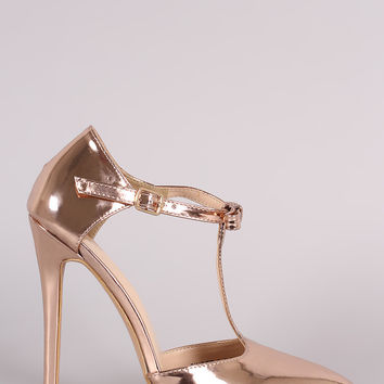Patent Bow T-Strap Pointy Toe Stiletto Pump