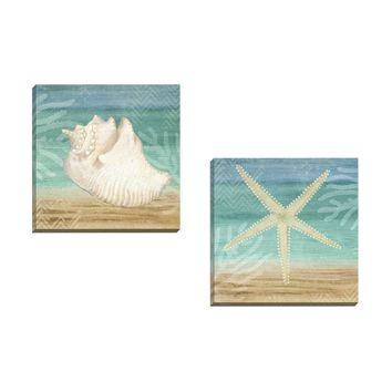 Portfolio Canvas Decor Beth Albert 'Aqua Starfish' Framed Canvas Wall Art (Set of 2) | Overstock.com Shopping - The Best Deals on Framed Canvas