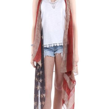 Mulit Color Distressed American Flag Long Vest