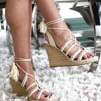 Rhinestone Tie Up Wedge Sandal