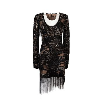Roberto Cavalli Womens Black Beaded Embroidered Dress