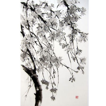 Japanese Ink Painting Suibokuga Sumi-e Japanese art Asian art Rice paper Black Large 17x28' Sakura Tree