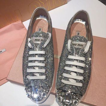 MiuMiu  Lounge leisure college board shoe low help shoes