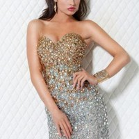 Embellished Sparkle Cocktail Strapless Dress Q502