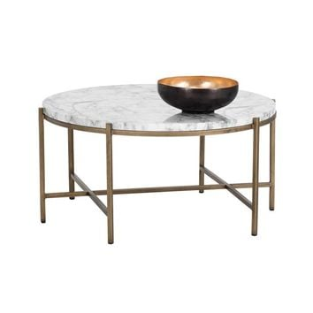 SOLAN BRUSHED ANTIQUE BRASS STEEL BASE CARRARA MARBLE TOP ROUND COFFEE TABLE