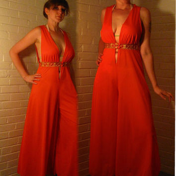 Stunning 1960s Orange Romper. Deep V neck Lingerie. Medium.