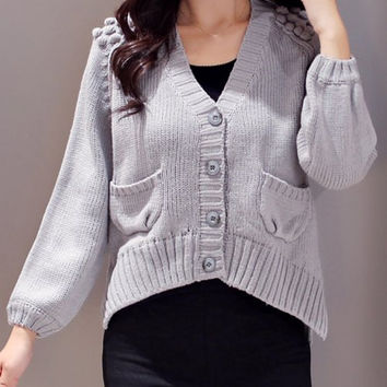 Gray V-Neck Long Sleeve Hem Cardigan