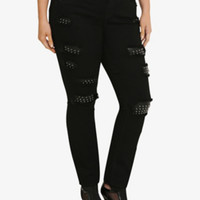 Torrid Premium Skinny Jean - Black with Studded Destruction (Short)