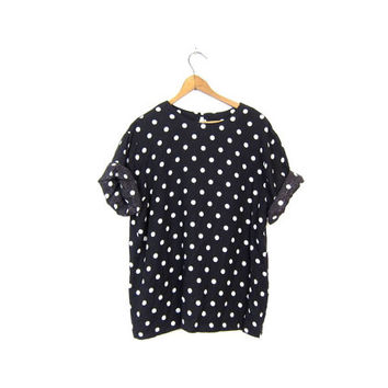 Polka Dot Blouse Black & White Dotted Top Boxy Rayon 80s Shirt Mod Slouchy 1980s Graphic Top RETRO Womens Vintage Medium